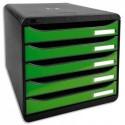 EXACOMPTA Module de classement 5 tiroirs. Coloris noir/vert glossy. Dim : L27,8 x H26,7 x P34,7 cm.