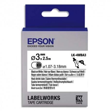 EPSON Gaine Thermorétractable LK-4WBA3 Noir/Blanc 4mm/3m C53S654903