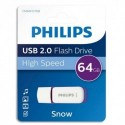 PHILIPS Clé USB 2.0 SNOW 64Go blanc/violet FM064FD70B/10 + redevance