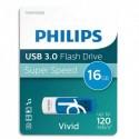 PHILIPS Clé USB 3.0 VIVID 16Go blanc/bleu FM16FD00B/10 + redevance