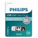 PHILIPS Clé USB 3.0 VIVID 32Go blanc/gris FM32FD00B/10 + redevance