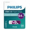 PHILIPS Clé USB 3.0 VIVID 64Go blanc/violet FM64FD00B/10 + redevance