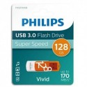 PHILIPS Clé USB 3.0 VIVID 128Go blanc/orange FM12FD00B/10 + redevance