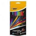 BIC Pochette de 12 Intensity. Bleux2/rouge/vert/orange/marron/gris/vert clair/rose/bleu clair/violet.