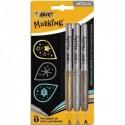 BIC Blister 3 marqueurs permanents MARKING COLOR pointe ogive couleurs métalliques or, argent et bronze