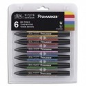 Winsor&Newton Set 6 marqueurs double pointe PROMARKER. A base d'alcool. Tons moyens assortis