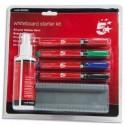 5 ETOILES Kit de nettoyage pour tableaux blancs avec marqueurs, effaceur et spray de 125 ml.