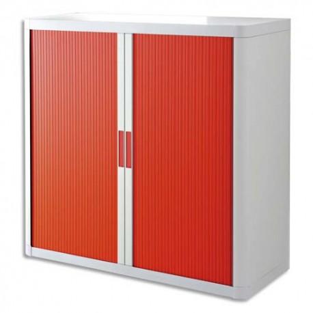PAPERFLOW EasyOffice armoire démontable corps en PS teinté Blanc rideau Rouge - Dim L110x H104x P41,5 cm