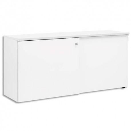 GAUTIER Crédence 2 portes coulissantes Yes façade et dessus Blanc - Dimensions : L160 x H75 x P45 cm