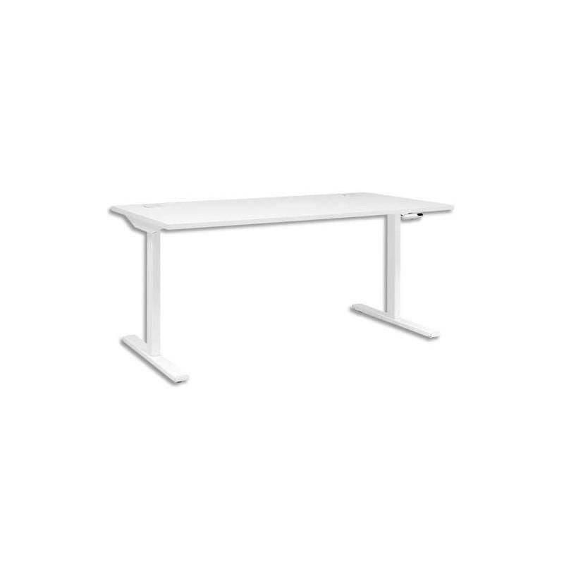 gautier bureau pied i ajustable en hauteur et lectrique yes blanc dim l140 x h70 120 x p80. Black Bedroom Furniture Sets. Home Design Ideas