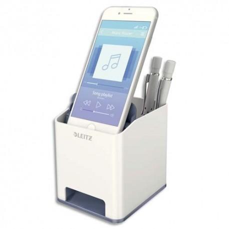 LEITZ Pot à crayon booster de son Dual blanc/gris métallisé - Dim : L9 x H10 x P10,1 cm