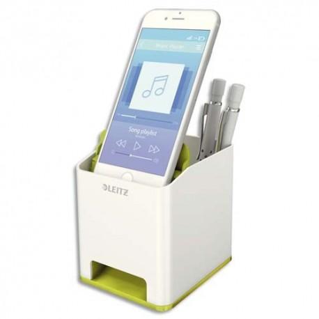 LEITZ Pot à crayon booster de son Dual blanc/vert métallisé - Dim : L9 x H10 x P10,1 cm