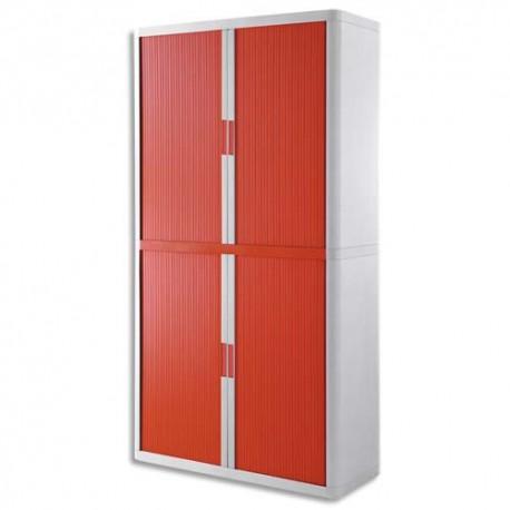 PAPERFLOW EasyOffice armoire démontable corps en PS teinté Blanc rideau Rouge - Dim L110x H204x P41,5 cm