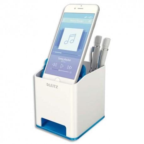 LEITZ Pot à crayon booster de son Dual blanc/bleu métallisé - Dim : L9 x H10 x P10,1 cm