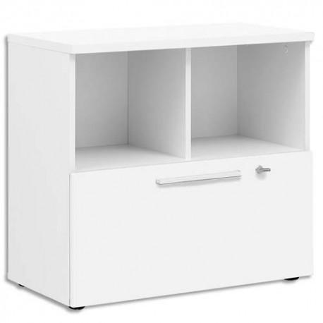 GAUTIER Rangement bas 2 cases 1 tiroir Yes façade et dessus Blanc - Dimensions : L80 x H74 x P42 cm