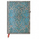PAPERBLANKS - Carnet Filigrane Argenté Maya Bleu Ultra 18x23cm 240 pages lignées
