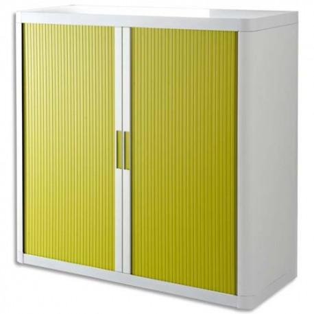PAPERFLOW EasyOffice armoire démontable corps en PS teinté Blanc rideau Vert - Dim L110x H104x P41,5 cm
