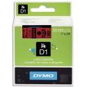 DYMO Cassette D1 ruban polyester impression noir sur fond rouge 24mmx7m (S0720970)