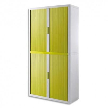 PAPERFLOW EasyOffice armoire démontable corps en PS teinté Blanc rideau Vert - Dim L110x H204x P41,5 cm