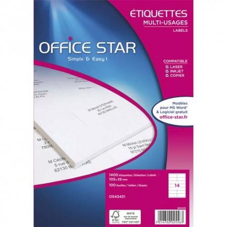 OFFICE STAR Boîte de 500 étiquettes multi-usages blanches dimensions 210x297 mm