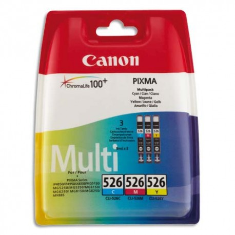 CANON CLI-526 (CLI526/4541B006) Pack de 3 cartouches couleurs de marque Canon CLI526C/M/Y-4541B006AA