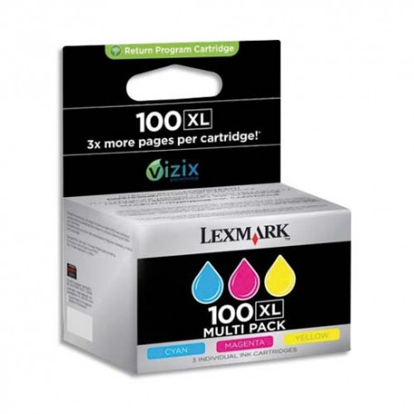 LEXMARK N°100XL - Cartouche jet d'encre pack 3 couleurs de marque Lexmark N°100XL (14N0850E)