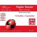 PLEIN CIEL Pochette de 12 feuilles+4 gratuites dessin 180g format 24x32cm