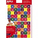 APLI Sachet de 3 feuilles 210 gommettes alphabet majuscule et minuscule en couleur assortie