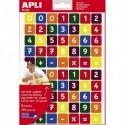 APLI Sachet de 3 feuilles 210 gommettes chiffres et symboles mathématiques en couleur assortie