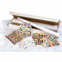 APLI Kit 4 affiches 70x100cm, impression noire, 48 feuilles de gommettes 4 modèles et couleurs assorties