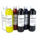 ART PLUS Coffret de 6 flacons de 250ml de peinture déco vitre, blanc, jaune, rouge, violet, bleu, vert