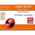 PLEIN CIEL Pochette de 12 feuilles+4 gratuites dessin 224g format 24x32cm