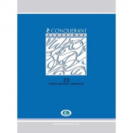 HAMELIN Conquérant Classic cahier piqûre 24x32 96 pages 90g Seyès couverture carte