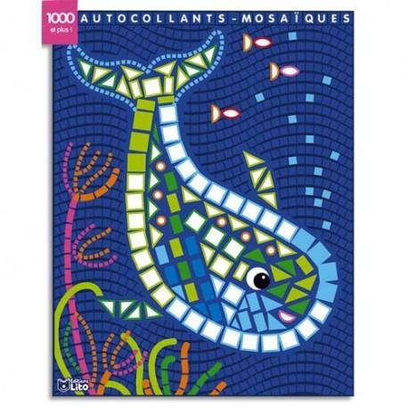 LITO DIFFUSION Bloc de 7 images mosaïque, avec gommettes pour décorer, thème baleines et assortis