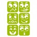DTM Lot de 6 pochoirs 14,5x14,5cm thème 6 expressions différentes