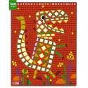 LITO DIFFUSION Bloc de 7 images mosaïque, avec gommettes pour décorer, thèmes dinosaures et assortis