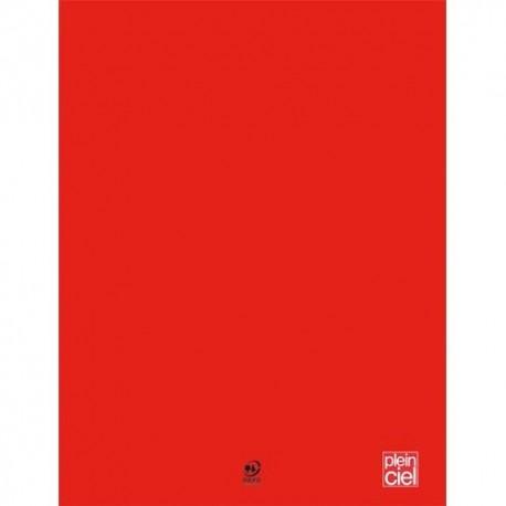 PLEIN CIEL Cahier piqûre 24x32 96 pages grands carreaux 90g. Couverture polypro rouge