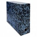 Boîte transfert marbrée Exacompta Anoney, carton rigide recouvert papier vernis dimensions  34x25,5cm - Bleu