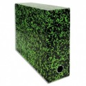 Boîte transfert marbrée Exacompta Anoney, carton rigide recouvert papier vernis dimensions 34x25,5cm - Vert