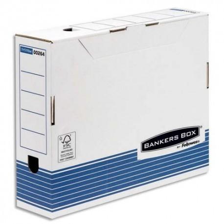 Archivage BANKERS BOX - Boîte archives gamme system montage automatique, carton recyclé blanc/bleu