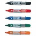 Marqueur effaçable rechargeable tableau blanc àsec pointe ogive fine ou moyenne corps plastique Pilot Vboard Master - Assortis