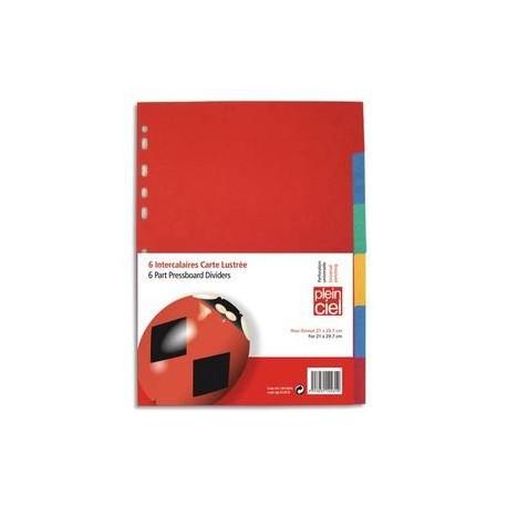 PLEIN CIEL Jeu d'intercalaires en carte lustrée colorée 220 grammes format A4