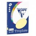 CLAIREFONTAINE Pochette de 100 feuilles papier couleur TROPHEE 80 grammes format A4. Coloris jaune canari