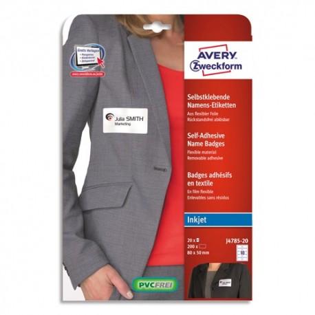 AVERY Pochette de 200 Badges adhésifs imprimables Jet d'encre Blancs, sans PVC - Format : L80 x H50 mm