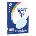 CLAIREFONTAINE Pochette de 100 feuilles papier couleur TROPHEE 80 grammes format A4. Coloris bleu