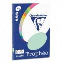 CLAIREFONTAINE Pochette de 100 feuilles papier couleur TROPHEE 80 grammes format A4. Coloris vert