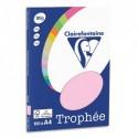 CLAIREFONTAINE Pochette de 100 feuilles papier couleur TROPHEE 80 grammes format A4. Coloris rose
