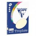 CLAIREFONTAINE Pochette de 100 feuilles papier couleur TROPHEE 80 grammes format A4. Coloris ivoire