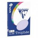 CLAIREFONTAINE Pochette de 100 feuilles papier couleur TROPHEE 80 grammes format A4. Coloris lilas