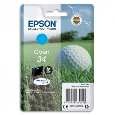 "EPSON (T3462) Cartouche ""balle de golf"" jet d'encre durabrite ultra cyan C13T34624010"